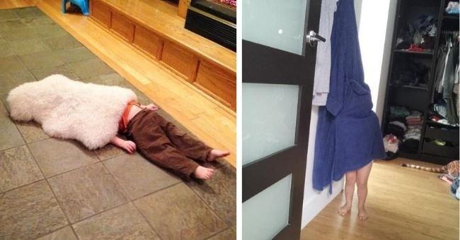 pictures of kids failing at playing hide and seek - cover pic kids hiding with legs sticking out