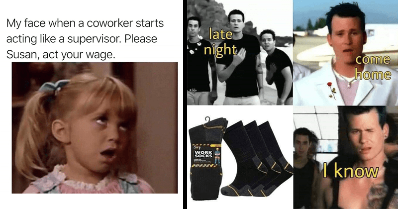 funny work memes | My face coworker starts acting like supervisor. Please Susan, act wage. Michelle Tanner Full House | late night come home Say WORK SOCKS know ​​blink-182 All the Small Things Lyrics