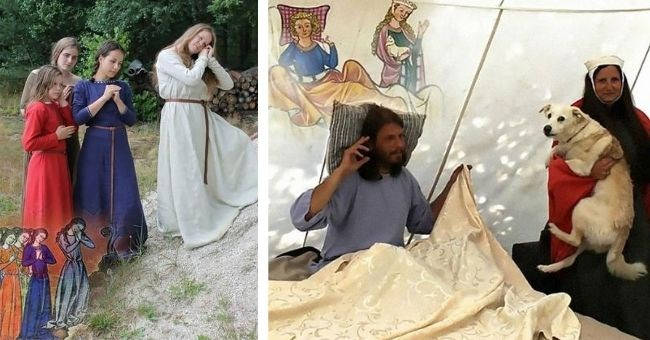 students recreate strange scenes from medieval books - cover pic women standing up and man in bed woman holding dog