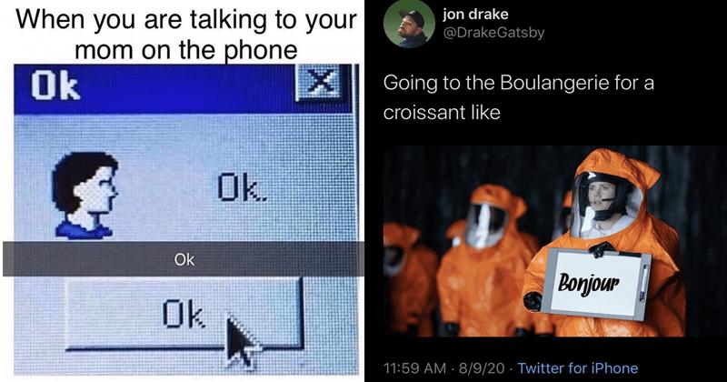 Funny random memes, relatable memes, silly memes, dumb memes, mom memes, cat memes, cats, felines | are talking mom on phone Ok Ok. Ok Ok | jon drake @DrakeGatsby Going Boulangerie croissant like bonjour