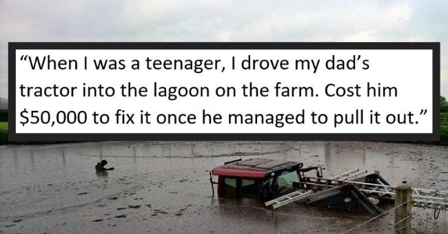 cheezburger users responses to most expensive things children ruined by mistake - cover pic story about kid driving dads tractor into lagoon costing him $50,000