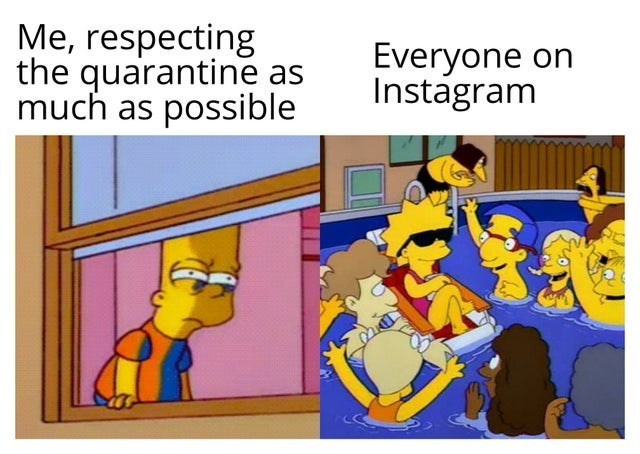 top ten 10 memes daily | respecting quarantine as much as possible Everyone Instagram on Bart simpson looking out the window at Lisa partying in a pool with friends