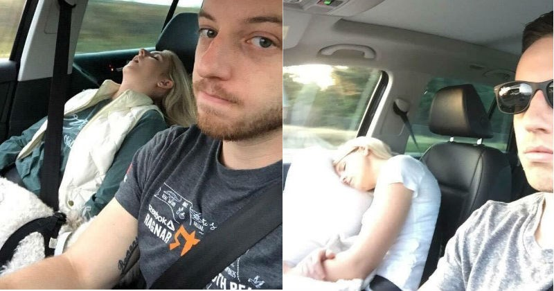 Husband takes funny pictures of his wife sleeping while they're on a road trip.