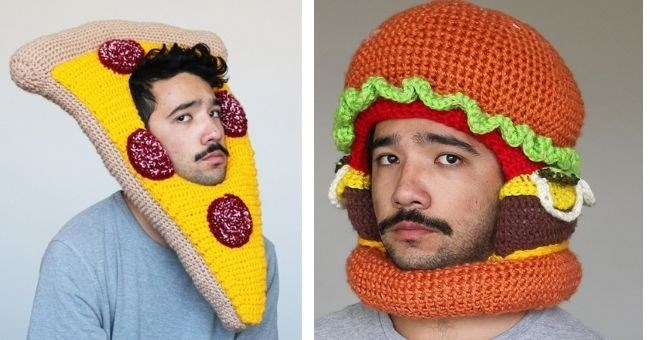 pictures of artist who crochets food hats and wears them - cover pic pizza and burger hats