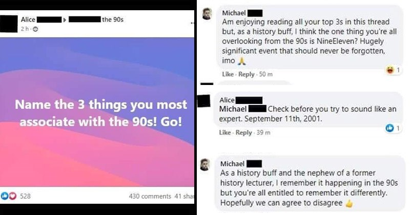 "Facebook post that reads, ""Name the 3 things you most associate with the '90s!"" 