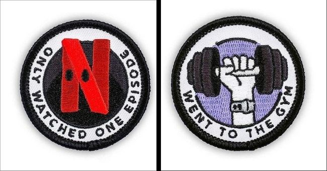 pictures of adult merit badges - cover pic only watching one episode of netflix and going to the gym