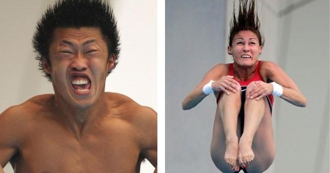 pictures of funny faces made by Olympic divers