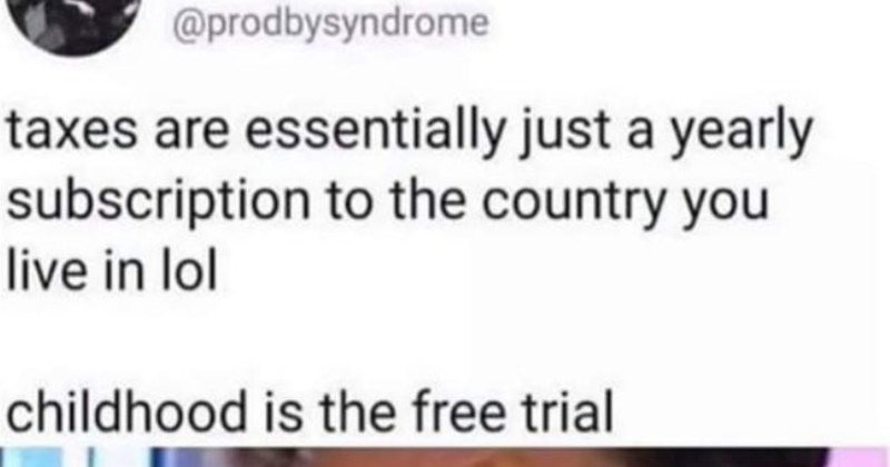 Technically correct jokes and moments that are literally correct | Syndrome @prodbysyndrome taxes are essentially just yearly subscription country live lol childhood is free trial OH MY FUCKING GOD