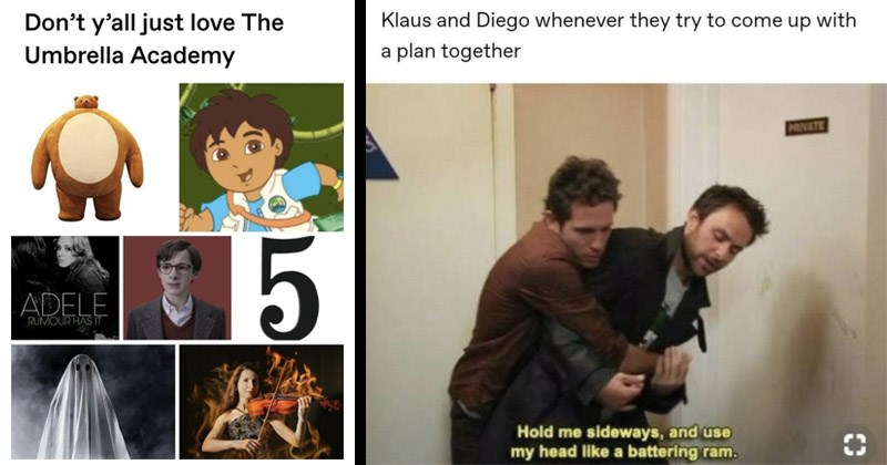 Funny memes about the Netflix TV show 'The Umbrella Academy' | Don't y'all just love Umbrella Academy ADELE RUMOUR HAS Go Diego ghost Number 5 violinist on fire | Klaus and Diego whenever they try come up with plan together PRIVATE Hold sideways, and use my head like battering ram. Always sunny in Philadelphia Dennis and Charlie