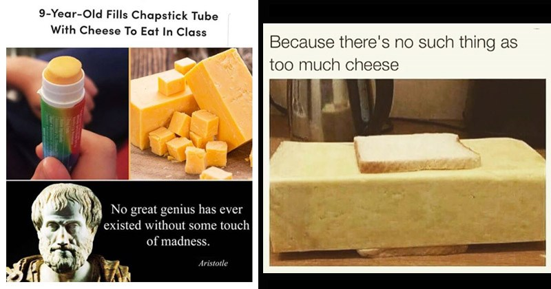 Funny memes about cheese | Trending 9-Year-Old Fills Chapstick Tube With Cheese Eat Class No great genius has ever existed without some touch madness. Aristotle | Because there's no such thing as too much cheese two thin slices of bread with a giant block of cheese in between them
