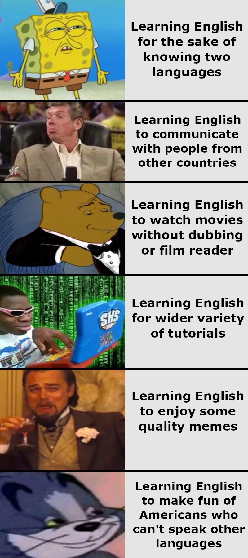 top ten 10 memes daily | Learning English sake knowing two languages Learning English communicate with people other countries Learning English watch movies without dubbing or film reader Learning English SHS wider variety tutorials Learning English enjoy some quality memes Learning English make fun Americans who can't speak other languages EYKY