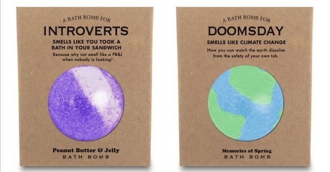 "pictures of bizarre smelling bath bombs - cover pic ""Introverts"" and ""Doomsday"" scented bath bombs 
