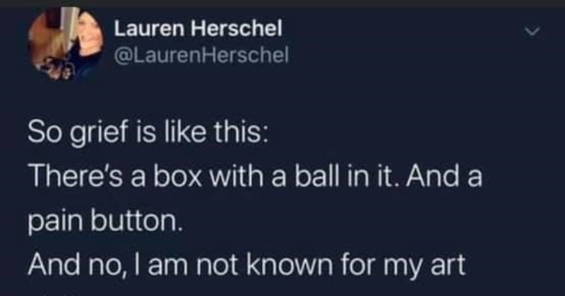 Twitter user breaks down the grieving process | Lauren Herschel @LaurenHerschel So grief is like this: There's box with ball And pain button. And no am not known my art skills BALL AND BOX BALL PAIN BUTTON