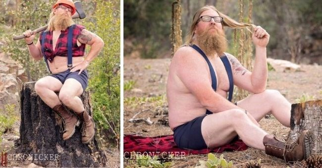 pictures of lumberjack scantily clad posing for photo-shoot