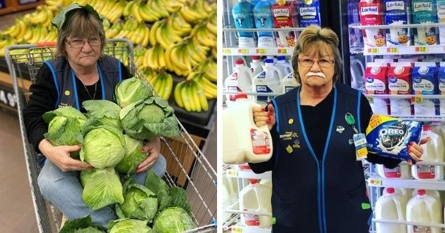 walmart employee poses with funny pictures - cover pic employee posing with vegetables sitting in cart and holding oreos and milk by fridge with a mustache of milk on her upper lip