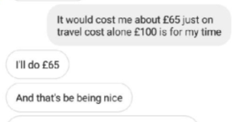 Entitled mom wants wall painted for free and doesn't get it | would cost about £65 just on travel cost alone £100 is my time Il do £65 And 's be being nice should be more than enough just paint some flowers on wall