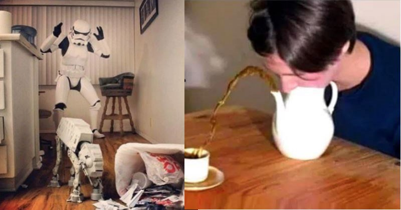 A collection of images that are cursed and blessed at the same time | Star Wars stormtrooper angry at their dog sized walker rummaging through trash | person blowing into a teapot causing the tea to spray out