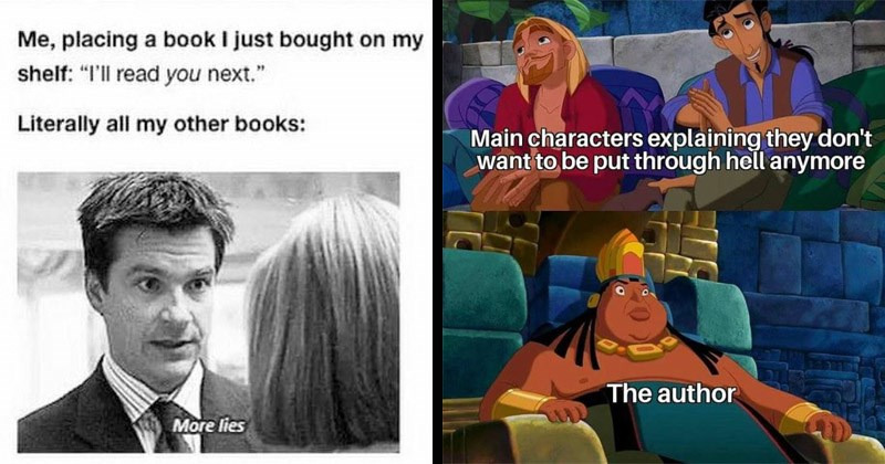 Funny memes about books, reading | placing book just bought on my shelf read next Literally all my other books: More lies | Main characters explaining they don't want be put through hell anymore author road to el dorado
