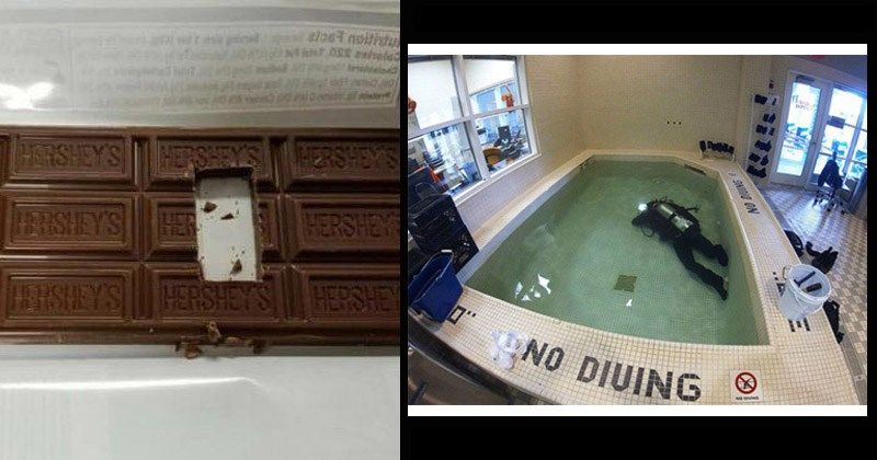 Funny pics about 'first-world anarchists' | cutting a square in the center of a Hershey's chocolate bar | person in full diving gear underwater in a tiny bathtub NO DIVING