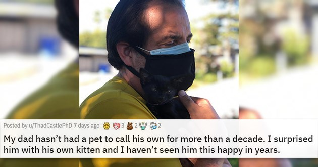 adopt adopted cats dogs shelter rescue kittens aww animals adorable cute wholesome uplifting forever homes | My dad hasn't had a pet to call his own for more than a decade. I surprised him with his own kitten and I haven't seen him this happy in years