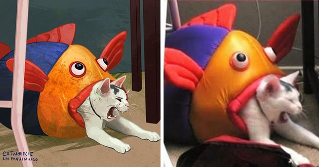art drawings cats memes popular images drawing artist cat funny lol cute aww adorable digital painting | meme redraw cat being eaten by a toy fish shaped catbed