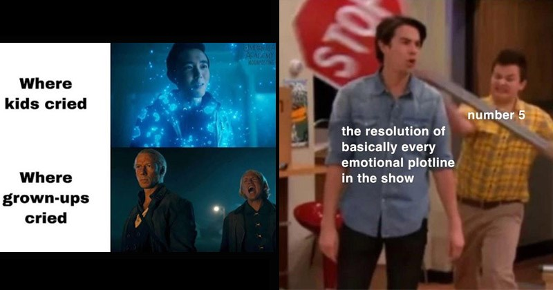 Funny memes about 'The Umbrella Academy' | EMBRELA. ACADEMY MOONPOSTING Where kids cried Where grown-ups cried | number 5 resolution basically every emotional plotline show Gibby hitting Spencer with a Stop sign
