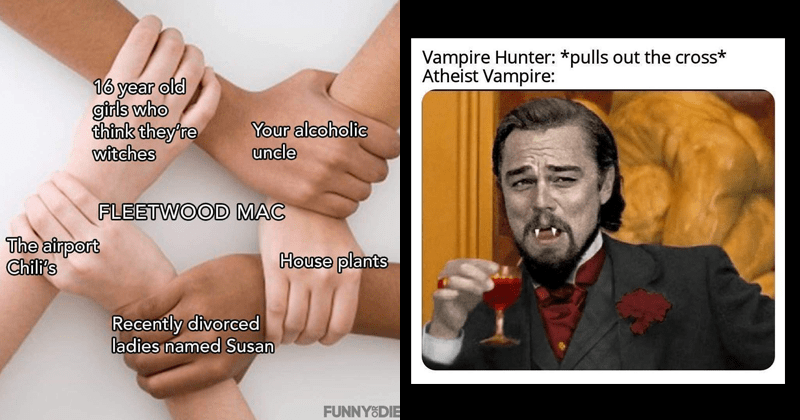 funny random memes | Vampire Hunter pulls out cross Atheist Vampire: laughing Leonardo DiCaprio | 16 year old think they're witches The airport Your alcoholic uncle House plants Recently divorced ladies named Susan FLEETWOOD MAC