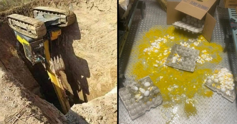 Moments of failure and chaos | bulldozer flipped over and stuck in a ditch hole in the ground | knocked over cartons of eggs yolk spilled on the floor