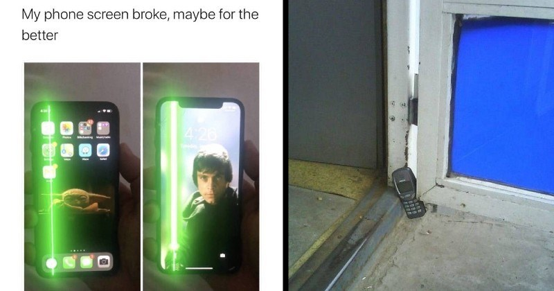 Funny low budget DIY solutions | My phone screen broke, maybe better Mark Hamill @HamillHimself broken screen be sure, but welcome one glowing green crack in a screen looking like a star wars lightsaber | old phone nokia used as a door stopper