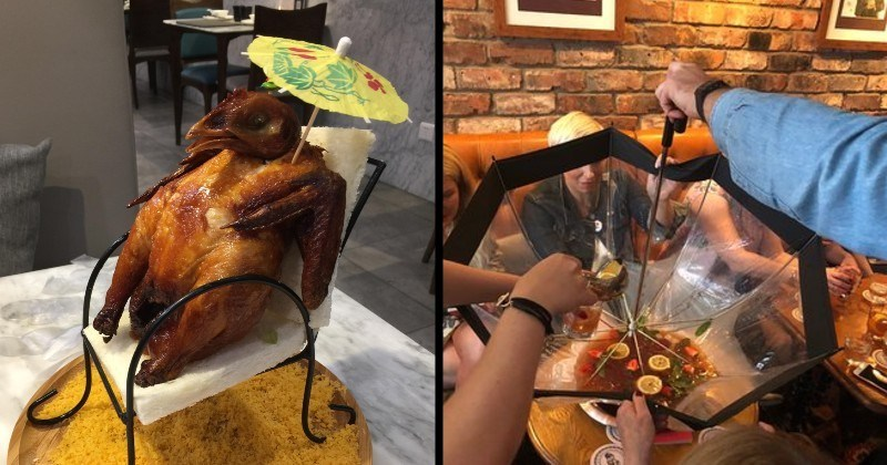 Restaurants serving food in things that aren't dishes   entire roasted chicken sitting in a chair with an parasol   soup dish served inside an umbrella