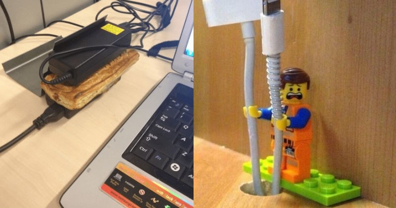 A collection of smart solutions to everyday problems that we encounter | making toast between two power chargers | lego figure used as a cable organizer