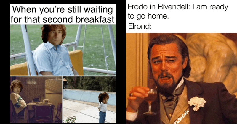 Tolkien Tuesdays, fresh lord of the rings memes, hobbits, leonardo dicaprio laughing | still waiting second breakfast Pablo Pippin as Escobar standing around | Frodo Rivendell am ready go home. Elrond ShireDweller laughing Leonardo DiCaprio