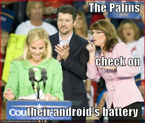 The Palins check on their android's battery
