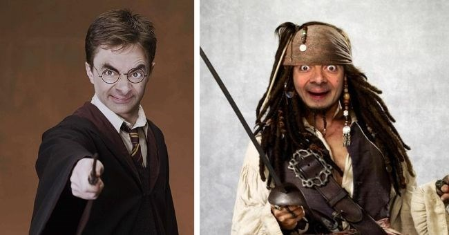Mr. Bean's face photoshopped onto hollywood characters | Harry Potter Daniel Radcliffe and Captain Jack Sparrow Johnny Depp