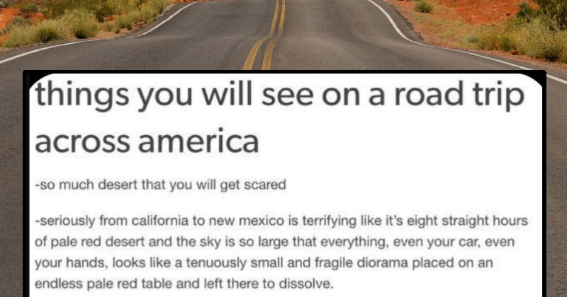 A funny quick Tumblr thread about things that people will see on a road trip across America | things will see on road trip across america -so much desert will get scared seriously california new mexico is terrifying like 's eight straight hours pale red desert and sky is so large everything, even car, even hands, looks like tenuously small and fragile diorama placed on an endless pale red table and left there dissolve.