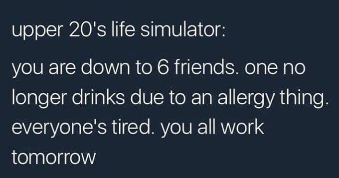funny memes and tweets about adulting |- FLOOR BABA FLOOR_BABA upper 20's life simulator are down 6 friends. one no longer drinks due an allergy thing. everyone's tired all work tomorrow