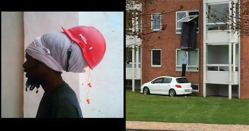 Funny photos and GIFs of people doing dumb things | person wearing a hard hat safety helmet over dreadlocks | man standing on a car's roof lifting a couch to a window