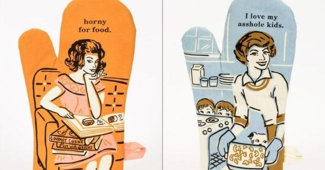 pictures of oven gloves with rude messages on them | horny food. GOURMET CUISINE Fun with sauces | love my asshole kids