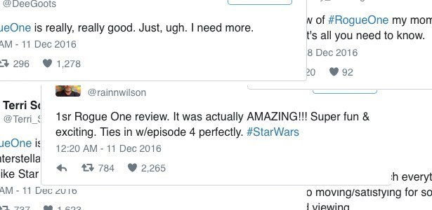Reviews of the Day: Twitter is Already in Love With Rogue One
