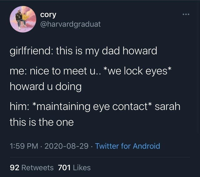top ten daily tweets from white people twitter | Insect - cory @harvardgraduat girlfriend: this is my dad howard nice meet u lock eyes* howard u doing him maintaining eye contact* sarah this is one 1:59 PM 2020-08-29 Twitter Android 92 Retweets 701 Likes