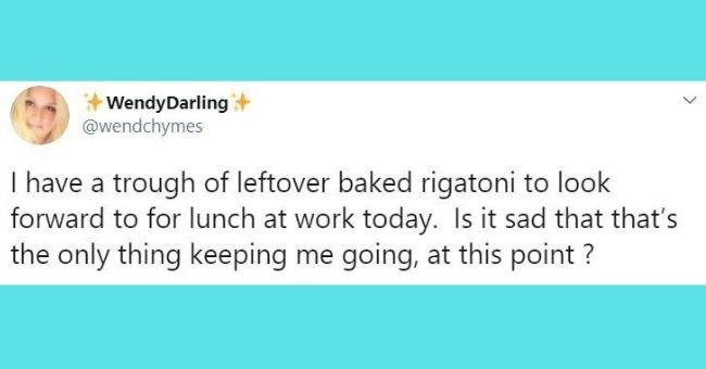 funniest tweets written by women - cover pic | Wendy Darling @Wendchymes I have a trough of leftover baked rigatoni to look forward to at lunch today