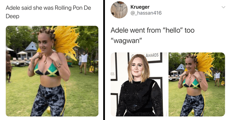 "Adele criticized for use of Bantu braids during carnival celebration in notting hill london, funny tweets, twitter memes, jamaica | @301mair Adele said she Rolling Pon De Deep | ueger @_hassan416 Adele went hello"" toO ""wagwan"" AWARDS RDS"