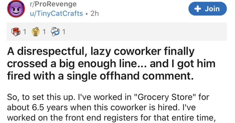 A disrespectful and lazy coworker crosses the line and ends up getting canned | r/ProRevenge Join u/TinyCatCrafts 2h 1 disrespectful, lazy coworker finally crossed big enough line and got him fired with single offhand comment. So set this up worked Grocery Store about 6.5 years this coworker is hired worked on front end registers entire time, with couple shifts each week working sign/ price tag team. Basically been there forever and *generally* tend be someone some newer people go with questions