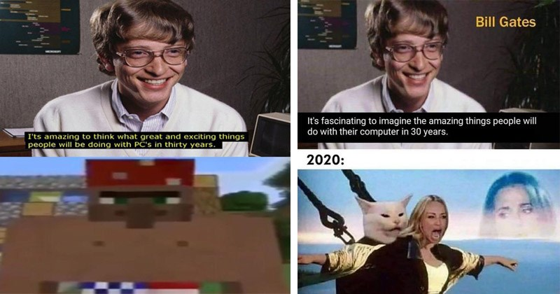"Funny dank memes showing Bill Gates saying, ""It's amazing to think what great and exciting things people will be doing with PCs in 30 years"" 