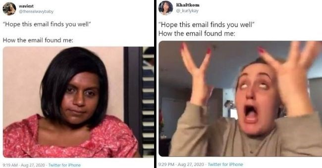"funny twitter reactions to 'I hope this email finds you well' | waviest @therealwavybaby ""Hope this email finds well email found Mindy Kaling 