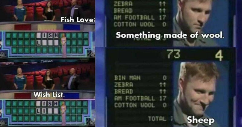 A collection of funny gameshow contestant memes | ish Love? ISH THING Wish List | 73 6 BIN MAN ZEBRA BREAD AM FOOTBALL 17 COTTON UOOLO 11 11 Something made wool. 73 4 01 BIN MAN ZEBRA BREAD AM FOOTBALL 17 COTTON WOOL O 11 11 TOTAL 7 Sheep