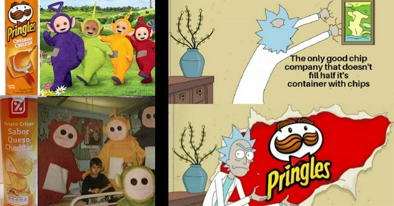 Funny memes about Pringles | Teletubbies Pringles CHEDDAR CHEESE Super Stack Potato C Crujeres de pa Potato Crisps Sabor Queso Cheddar 1508 Dia 2A Berukam | Rick and Morty only good chip company doesn't fill half 's container with chips Pringles