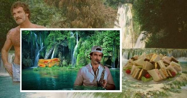 Photoshopped pictures of Tom Selleck With Sandwiches In Waterfalls