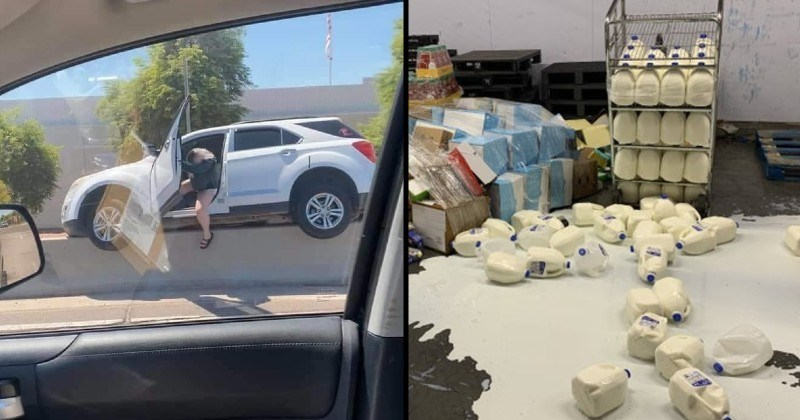 Mistakes, messes, fails and chaos | woman climbing out of a car stuck on top of a concrete road divider | huge milk puddle on the floor from spilled containers
