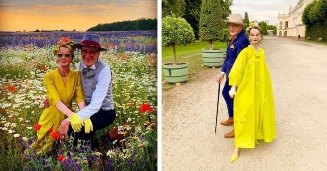 pictures of old German couple with flamboyant outfits on Instagram
